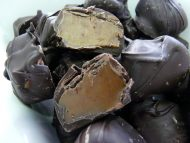 Dark chocolate covered Riley's Toffee Rolls