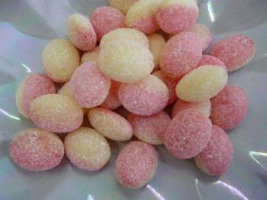 Traditional hard boiled oval sweets with classic Rhubard and Custard taste