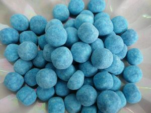 Blue chewy balls of raspberry