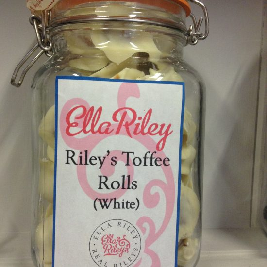 White chocolate Riley's Toffee Rolls in a classic Kilner Jar
